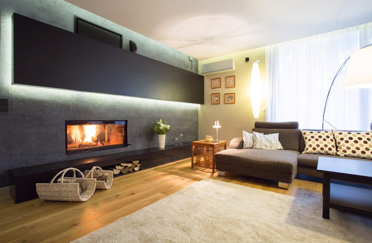 inbouwhaard van een moderne woonkamer